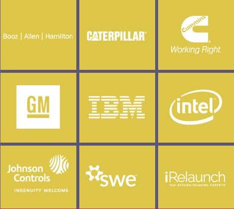 Booz Allen Hamilton, Cummins, Cummins, Caterpillar, General Motors, IBM, Intel, Johnson Controls, SWE, IRelaunch